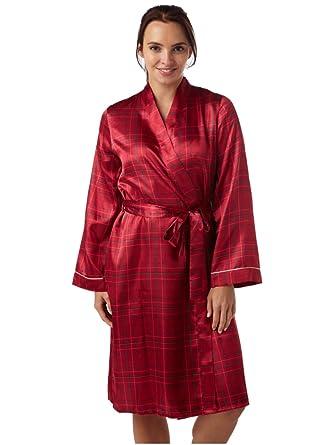 Ladies Kimono Check Satin Wrap Dressing Gown Robe Red Check: Amazon ...