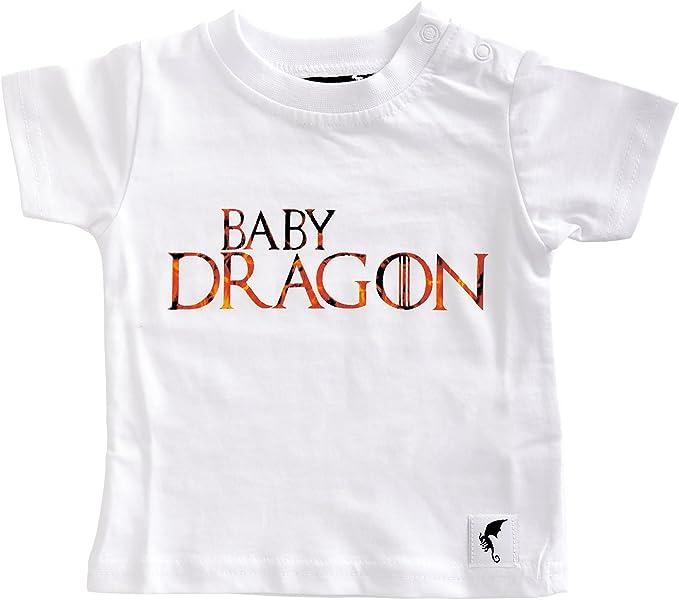 Elbenwald Dragón del bebé de la Camiseta para el Juego de Tronos Ventiladores de algodón Blanco: Amazon.es: Ropa y accesorios