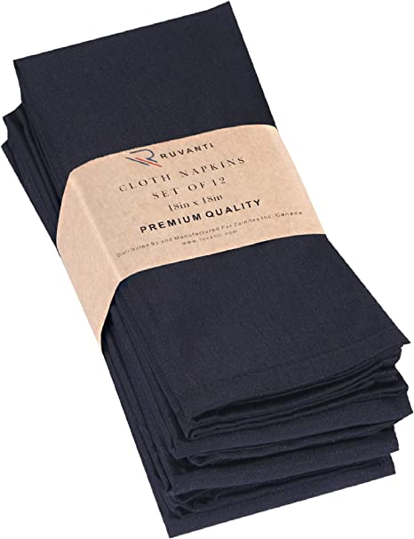 Cotton Reusable Dinner Napkins 18x18 Inches Hausattire Cloth Napkins Set of 12 Black Durable and Perfect for Everyday Use