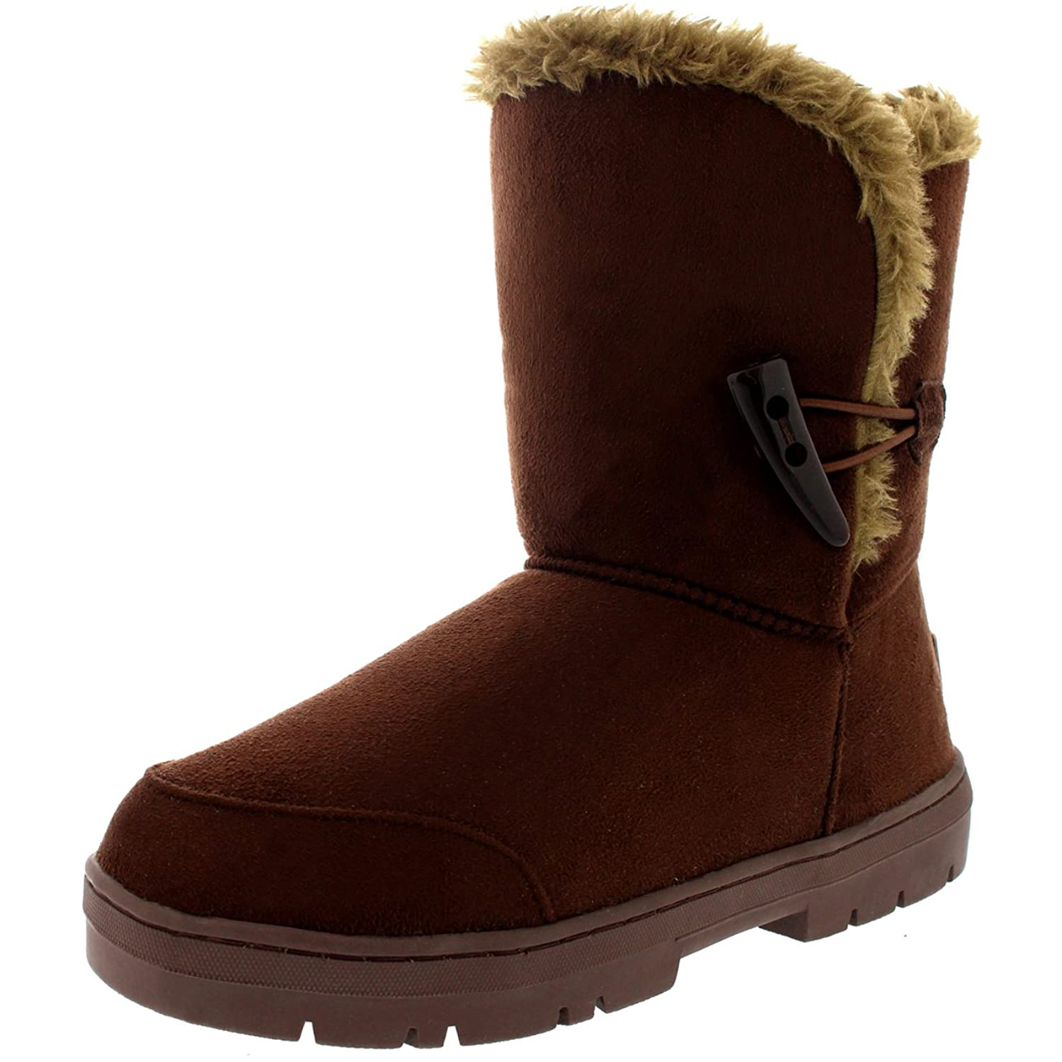 Mujer One Toggle Roap Thick Fur Lined Impermeable Invierno Nieve Rain Botas - Marrón Claro - 39 bV06r