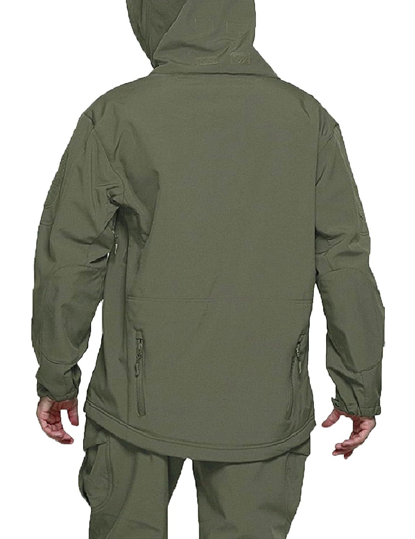 YFNT Manches Longue à Capuche Camouflage Softshell imperméable Homme pour Camping Chasse pêche Vert