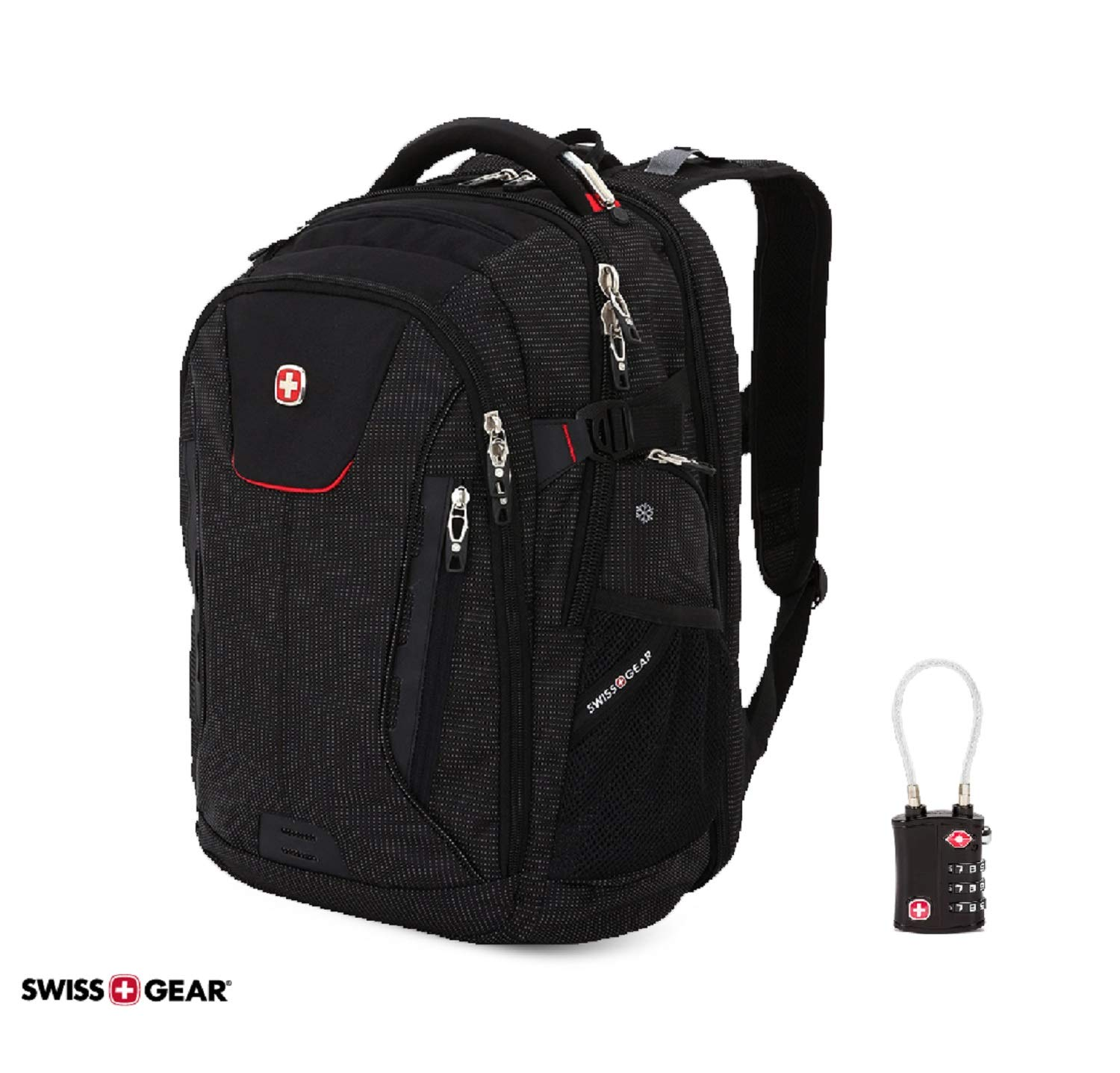 SWISSGEAR 5358 ScanSmart Ultimate Protection Organization USB Backpack (Black) with TSA Security Lock Exclusive Bundle