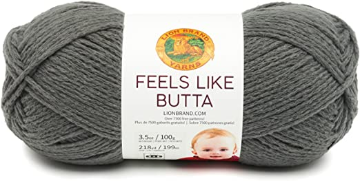 Lion Brand Yarn 215-150 Feels Like Butta Yarn Charcoal Pack of 3 Skeins