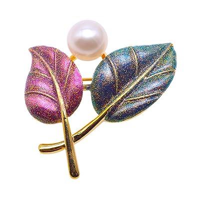 jyx leaves-style agua dulce Pearl broche Boda Cumpleaños ...