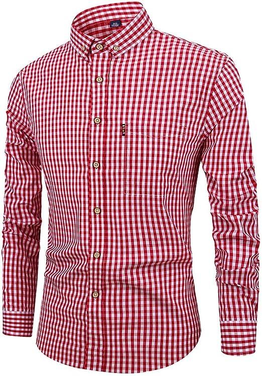 ZWLXY Camisa Casual A Cuadros De Leñador De Algodón A Cuadros De Manga Larga para Hombre,B,S: Amazon.es: Jardín