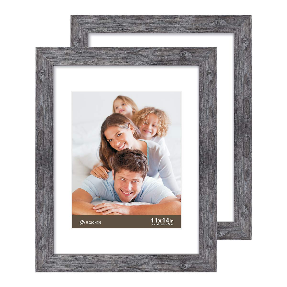 Boichen 11X14 Picture Frames 2 Pack Rustic Style Wood Pattern High Definition Glass for Tabletop Display and Wall mounting Photo Frame by Boichen