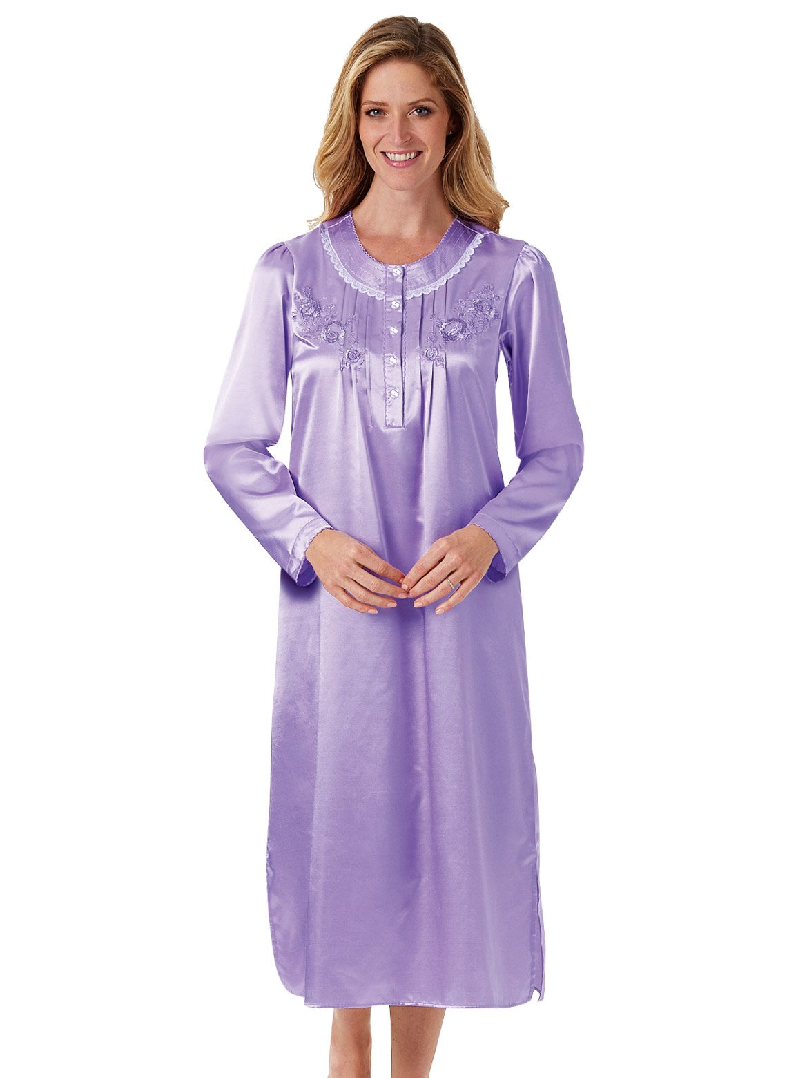 Carol Wright Gifts Brushed Back Satin Gown, Color Lilac, Size Extra Large (1X), Lilac, Size Extra Large (1X)