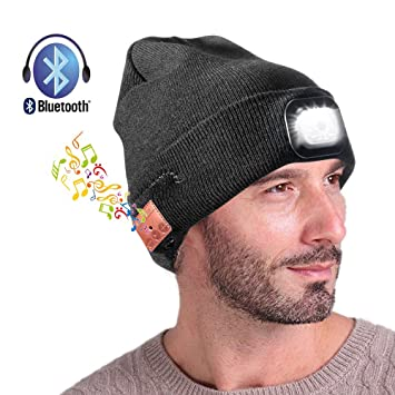 2089063739c Wireless Bluetooth Beanie Hat with LED Headlight USB Rechargeable - Hands  Free Headlamp Musical Cap for