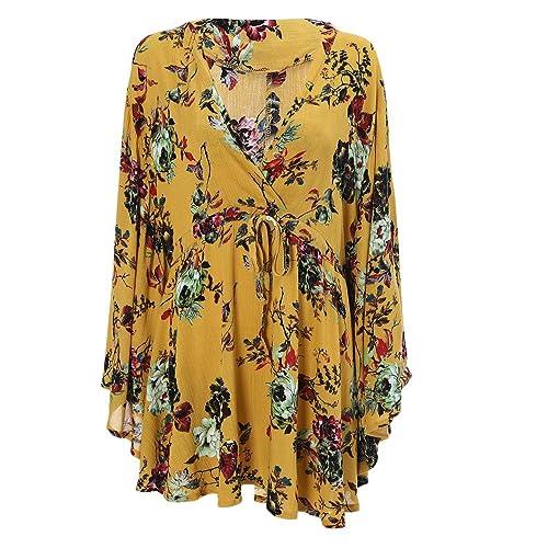 DressLily - Camisas - camisa - Floral - cuello en V - manga 3/4 - para mujer
