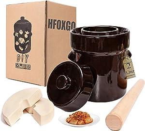 Fermentation Crock Jar 2 Liter/0.5 Gallon-Stoneware Pot for Fermenting Pickling Kimchi, Sauerkraut, Pickles, Vegetables, Kombucha,Glazed Ceramic Fermenter with Weights,Lid & Pickle Tamper