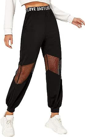 Romwe Women's Letter Graphic Elastic Waist Mesh Detail Sport Workout Pants