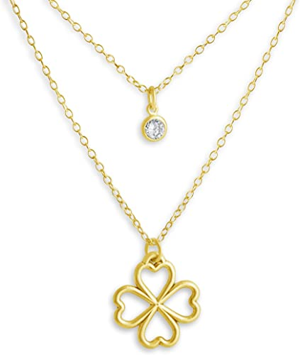 Azaggi Gold Plated Silver Necklace Cubic Zirconia Stone Four Hearts Leaf Clover Lucky in Love CZ Stone Double Chain Pendant Necklace .This Necklace is the Perfect Jewelry Gift for Women