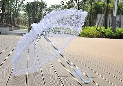 THUNFER Paraguas Paraguas De Encaje Suministros De La Boda Manual Creativo Paraguas Automático Disparos Shooting Props