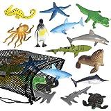 ArtCreativity Aquatic Sea Animal Assortment in Mesh Bag, Pack of 12 Sea Creature Figurines in Assorted Designs, Bath Water To