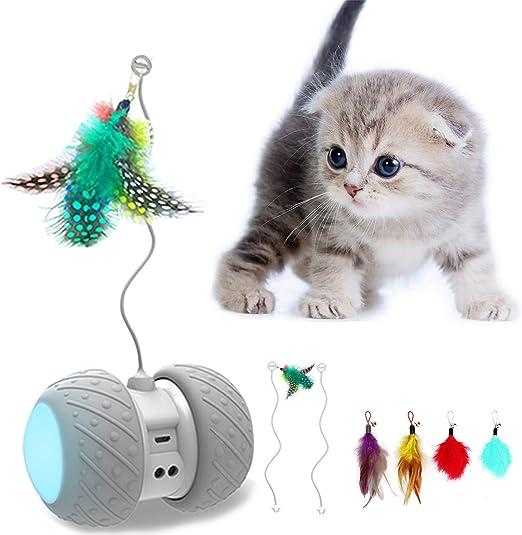 AONKEY El Juguete Interactivo para Gatos con Plumas, Juguete de Bola Luminoso LED de Movimiento Irregular Automático para Gatos, Adecuado para Alfombra/Piso, Baterías de Gran Capacidad, Carga USB: Amazon.es: Productos para mascotas