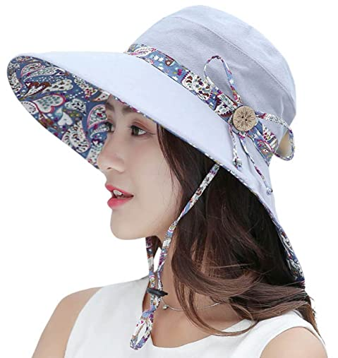 40e26dbcb03 HindaWi Womens Sun Hats Summer Reversible UPF 50+ Beach Hat Foldable Wide  Brim Cap