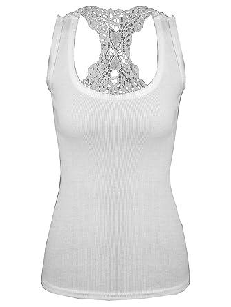 Femme Débardeur Hauts en Dentelle Crochet Sans Manche Col Rond T-shirt  Gilet (Taille e7fdd6f4cb03