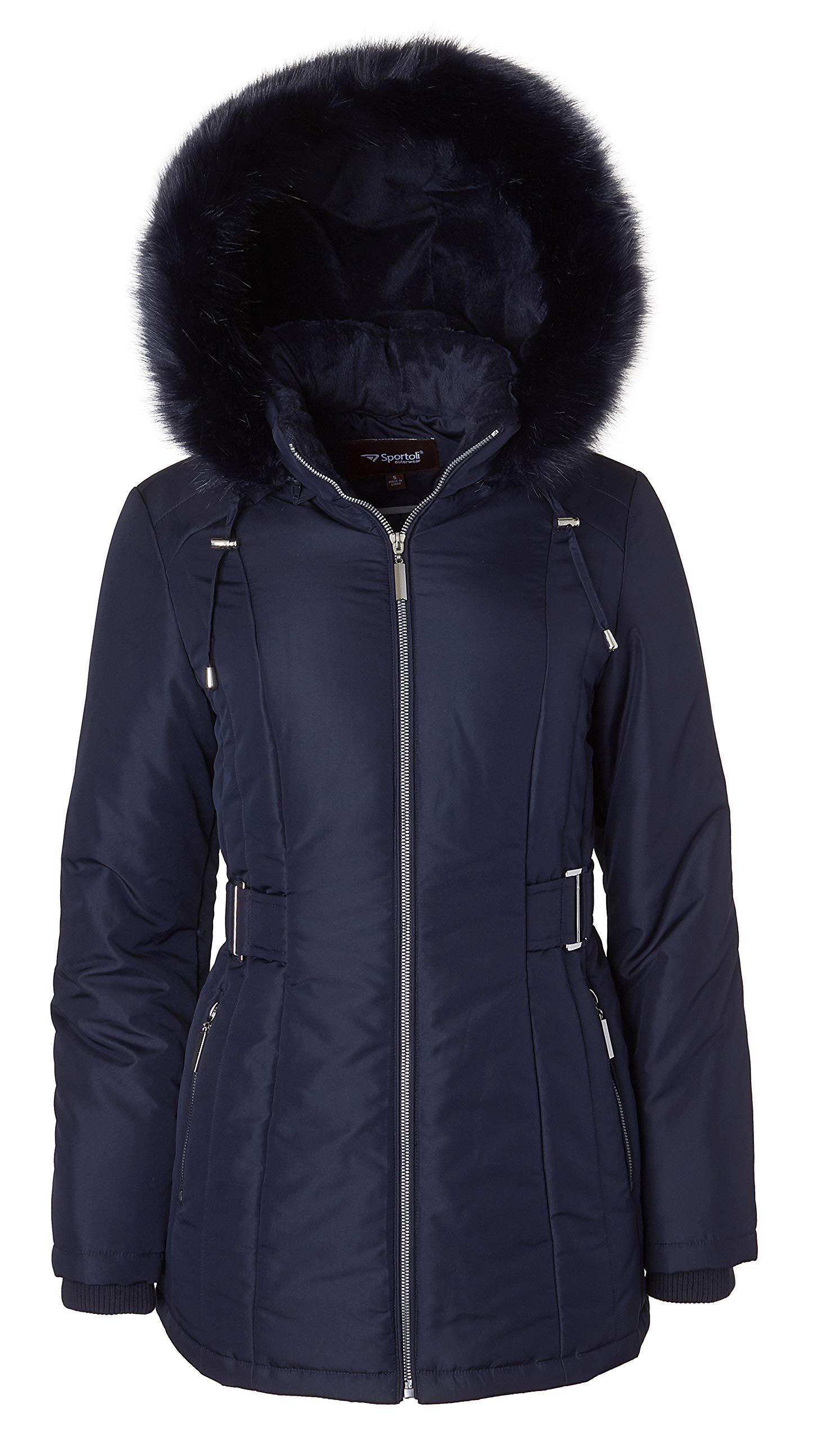 Women's Midlength Down Alternative Puffer Coat Fur Trim Plush Lined Detachable Hood - Stormy Night (Small)