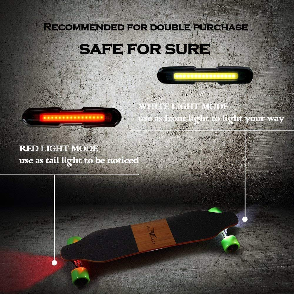 I-WONDER Skateboard Headlights and Taillights, USB Rechargeable Safe Lights, Waterproof LED Flashing Safety Rear Light, Easy to Install for Electric Longboard/Bikes/Helmets by I-WONDER (Image #2)