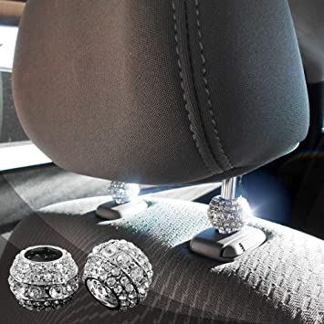 4 Pcs Chrome Bling Crystal Car Headrest Pole Collars Decor Interior Accessories