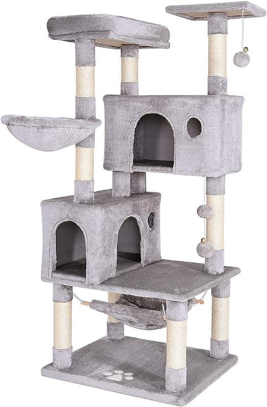 Dibea Árbol rascador Árbol Escalador Árbol rascador Gatos Árbol para Gatos Altura 140 cm Color Gris Claro: Amazon.es: Productos para mascotas
