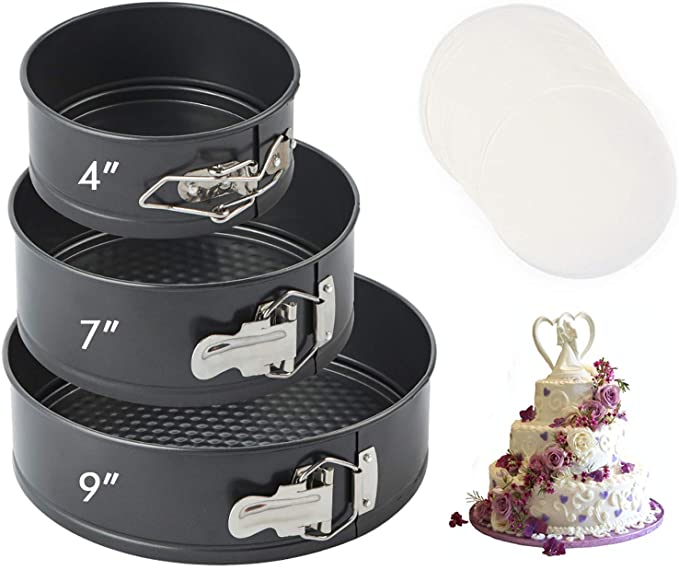 Black Spring-Form Pan Set of 3 Nonstick Round Cake Pan Set Leakproof Cheesecake Pan Baking Pans Household Detachable with Lock Buckle Cake Mold