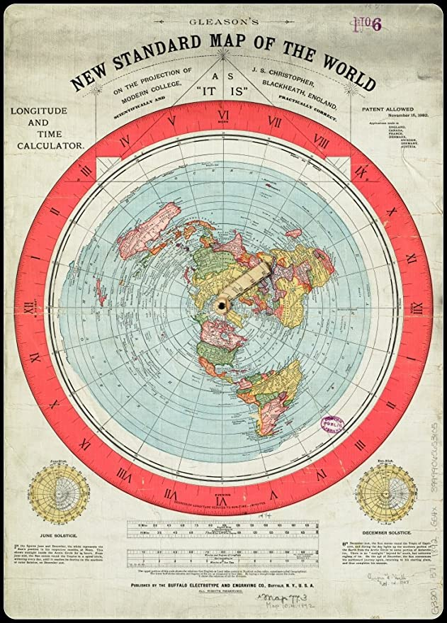 The New Map Of The World.Gleason S New Standard Map Of The World Flat Earth Art Print