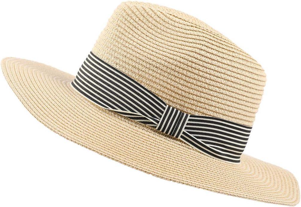 Summer Sun Straw Hat Beach Travel Outdoor Visor Hat Uv Protection Hat Adjustable Foldable Wide Brim Trilby Sun Cap for Men Women Couples