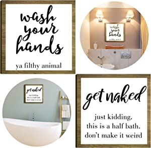 Jetec Get Naked Funny Sign Wash Your Hands Bathroom Sign Ya Filthy Animal Wall Art Farmhouse Signs Rustic Home Wooden Sign Decorations for Home Bathroom Wall Decor, 10 x 10 Inch