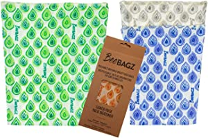 Beeswax Wrap Storage Bag by BeeBAGZ, Reusable Food Storage Bags, Pack of 3, Plastic Free Biodegradable Food Wrap Alternative, Lunch Pack, 2 Small + 1 Medium, (Multicolor)