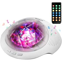 SOAIY Colorful LAMP007-BK Aurora Led Night Light & Sleeping Sound Machine with Remote,Timer,Built-in Bluetooth Speaker for Kids, White