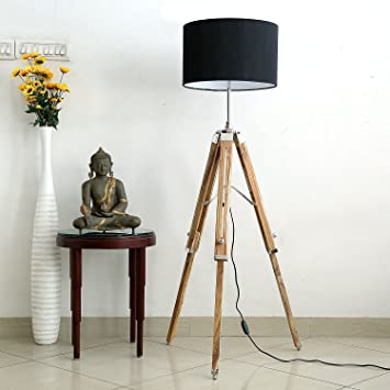 Handcrafted black shade dark brown natural finish wooden tripod handcrafted black shade dark brown natural finish wooden tripod floor lamp mozeypictures Images