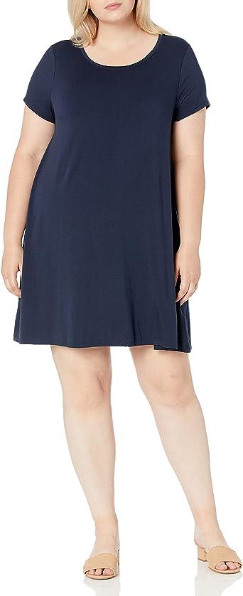 Vestido de manga corta holgado con cuello redondo para mujer Essentials