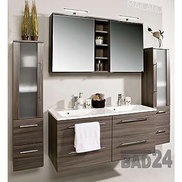 Badezimmermöbel doppelwaschbecken  badmöbelset Badezimmer Möbel Set Mailand Eiche dunkel inkl. Doppel ...