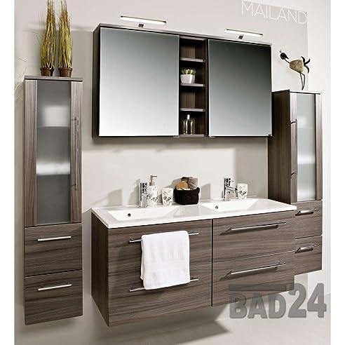 Badezimmer Möbel Set Mailand Eiche Dunkel Inkl. Doppel-Waschbecken