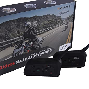 "2pcs V4"" tercomunicador BT Motorrad Helm Bluetooth A2DP 4 Riders Interfono manos Libres Bluetooth Headset"