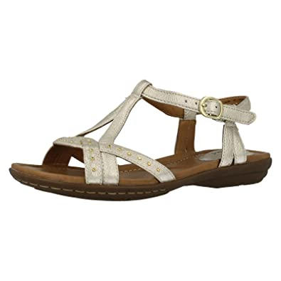 636884bf4 Clarks Ladies Summer Strappy Sandals Roya Hannah - Gold Leather - UK ...