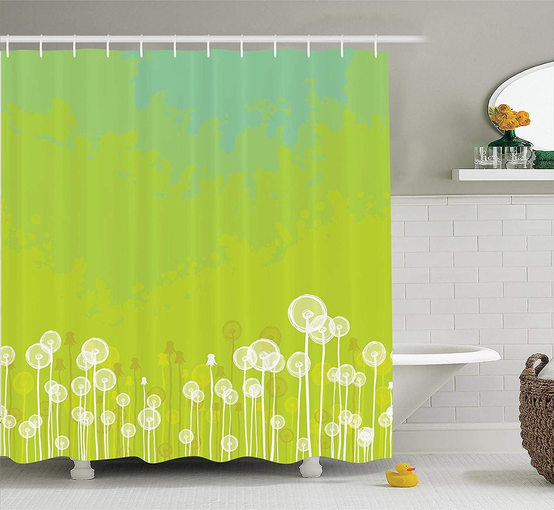 JAMES STRAIN Apartment Decor Shower Curtain, Dandelion Flower Pattern Wild North American Flowering Plant Summertime Art, Fabric Bathroom Set with Hooks, 75 Inches Long, Apple Green Seafoam