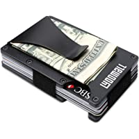 YOOMALL Minimalist Wallet with Money Clip Aluminum Credit Card Holder Slim Front Pocket RFID Blocking