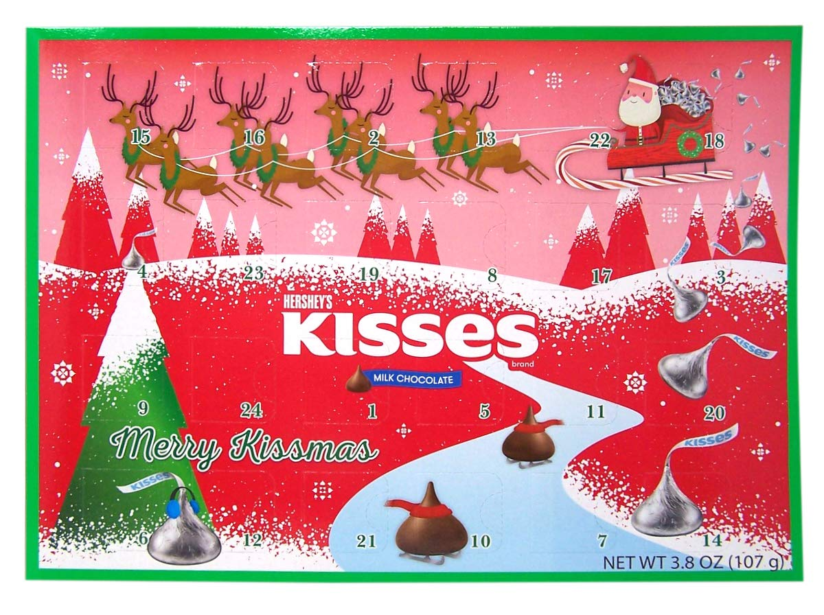 Hershey Milk Chocolate Kisses Candy Filled 2019 Christmas Advent Calendar, 13 3/4 Inch
