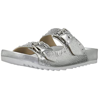 Brand - The Fix Women's Upson Double Buckle Studded Footbed Platform Slide Sandal, Silver/Metallic, 7.5 B US: Shoes