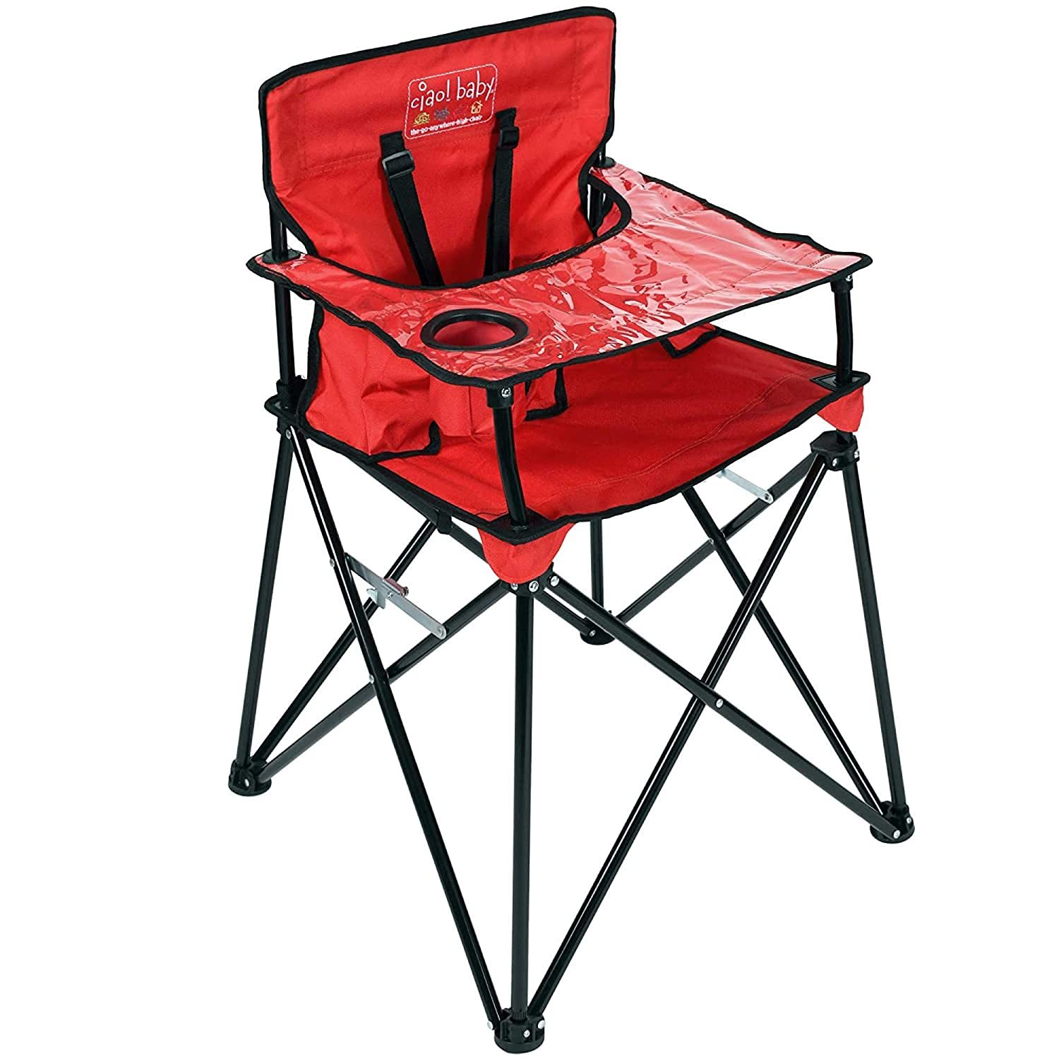 Amazon.com : ciao! baby Portable High Chair for Babies and Toddlers, Fold  Up Outdoor Travel Seat with Tray and Carry Bag for Camping, Picnics, Beach  Days, Sporting Events, and More (Red) :