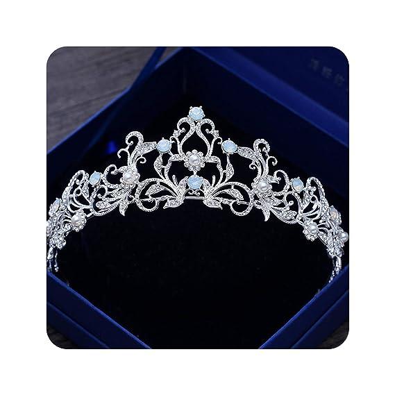 Amazon.com: Unique Light Blue Crystal Tiara Crown Princess Bridal Wedding Headband Hair Accessories Headdress Pageant Prom Ornaments: Beauty