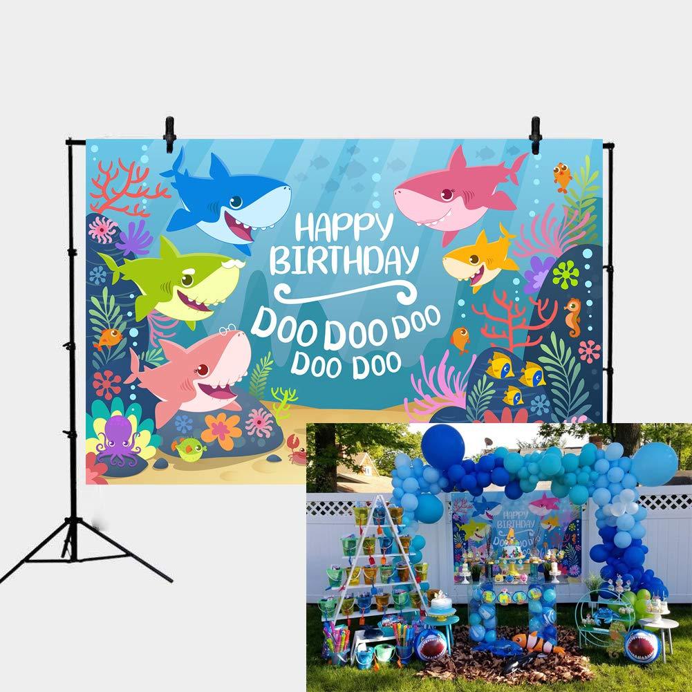Daniu 7x5FT Fondo de la Fiesta de cumpleaños del tiburón del océano Azul Fiesta del tiburón del bebé Banner de tiburón del bebé Telones de Fondo Foto ...