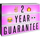 A4 Cinematic Colour Change Lightbox | 205 Letters & Emoji | Multicoloured LED Remote Controlled Light Up Box Sign…