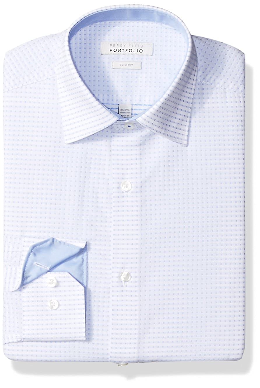 Perry Ellis Mens Slim Fit Wrinkle Free Dress Shirt