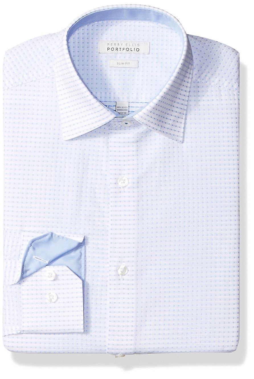Perry Ellis Mens Slim Fit Wrinkle Free Dress Shirt