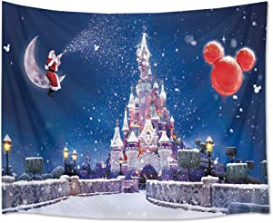 HVEST Christmas Tapestry Wall Hanging Castle Tapestry Santa Claus Sitting on Moon with Snow Wall Tapestry Winter Tapestries for Bedroom Living Room Dorm Party Wall Decor,80Wx60H inches