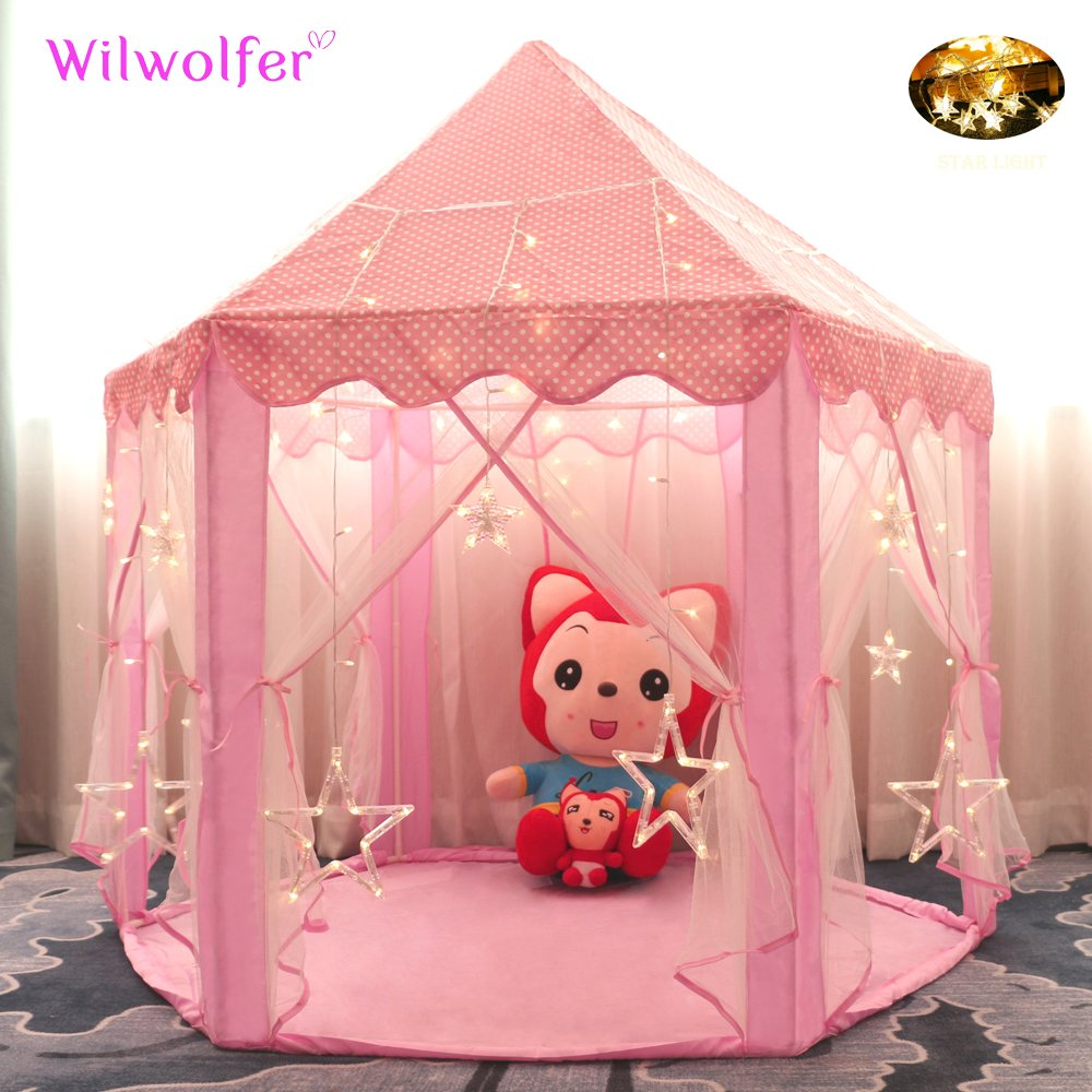 Wilwolfer Princess Large Castle Playhouse with 17 Feet 50 Star Lights