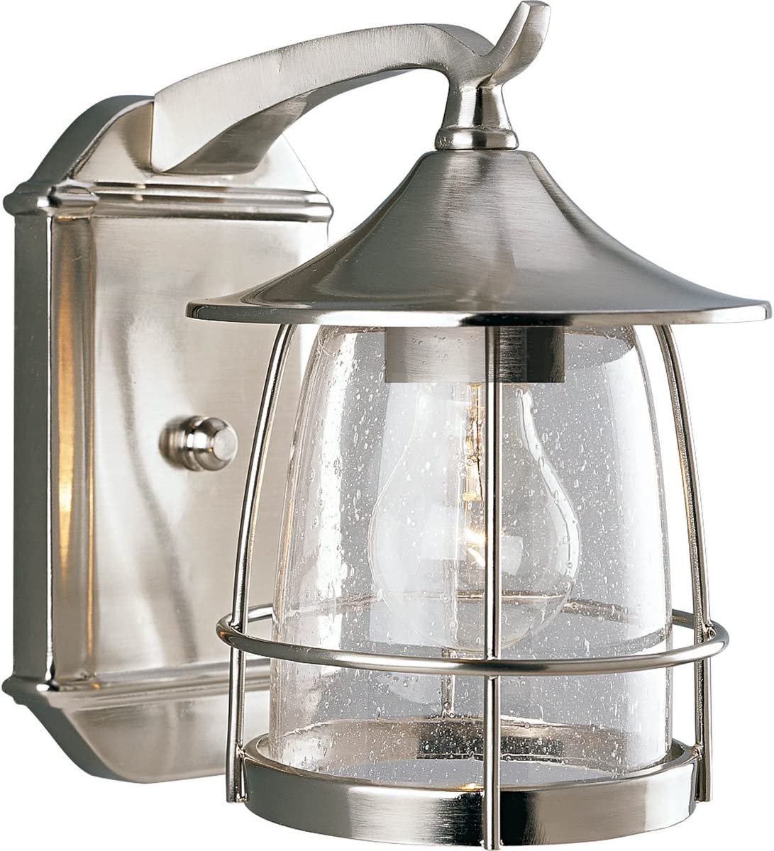 Progress Lighting P5763-09 1-Light Wall Lantern with Wire Frames and Clear Seeded Glass, Brushed Nickel